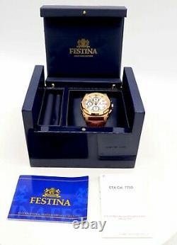 Luxury Homme Festina Heavy 18k Rose Gold Shockwave Chronographe Montre 40mm