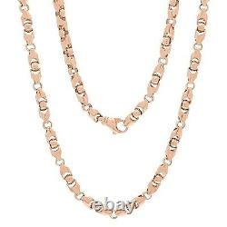 Men's 14k Rose Gold Solid Heavy Bullet Style Chain Necklace 22 6mm 84.1 Grammes