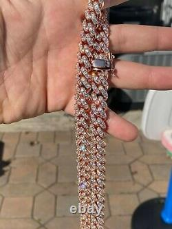 Men's Miami Cuban Link Chain 14k Rose Gold Solid 925 Silver Iced Necklace Heavy