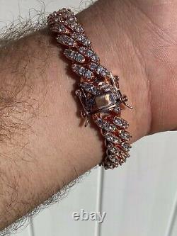 Mens Solid 925 Argent 14k Rose Gold Iced Miami Cuban Link Bracelet Heavy 75g 8