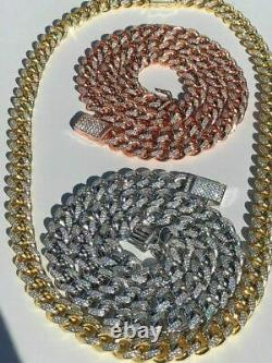 Miami Cuban Link Chain Solid 925 Argent W. Rose Jaune Or Placage 10mm Heavy
