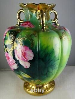 Nippon Antique (non Marqué) Vase En Porcelaine Japonaise Grandes Roses Heavy Gold