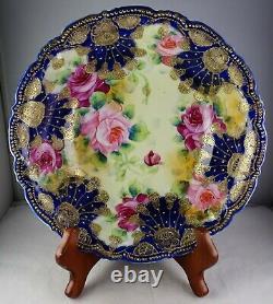 Nippon Cobalt & Heavy Gold Grandes Roses Grandes Antique Porcelaine Servir Bowl