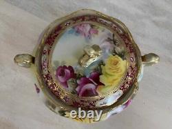 Nippon Peint À La Main Grandes Roses Lourd Or Perlé Dish Jar 9 Beau