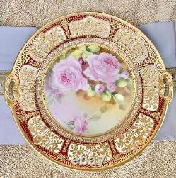 Nippon Peint À La Main Perles D'or Lourd Bijoux Chabage Rose Plaque D'armoire 10.5