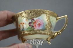 Nippon Peint À La Main Rose Et Jaune Rose Coupe De Thé D'or Et Soucoupe
