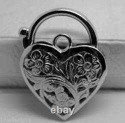 Nouveau 9ct Or Jaune Ou Or Blanc Ou Or Rose Heavy Large Heart Locket Padlock