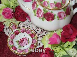 Old English Rose Style Tea Strainer & Bowl Cabbage Roses Or Lourd 24kt Rare