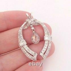 Or 18ct 3ct Rose Baguette Et Pendentif Diamant Rond Coupé, Art Déco Design Lourd