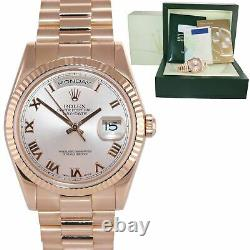Papers Rolex President Day Date Rose Or Rose Roman 118235 Heavy Band Watch Box