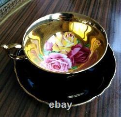 Paragon Black Teacup & Soucoupe Flottant Trois Roses Sur Heavy Gold Bowl