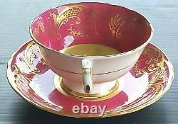 Paragon Chabage Rose Floating Center Ancien Teacup & Saucer Set Heavy Gold