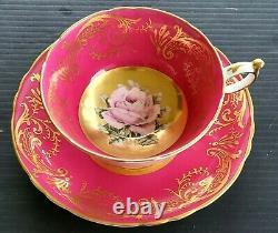 Paragon Chabage Rose Floating Center Antique Teacup & Saucer Set Heavy Gold
