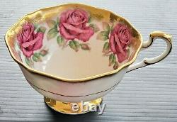 Paragon Chabage Rose Heavy Gold Teacup Only Set Rare Lire