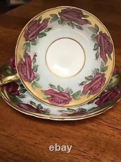 Paragon Chabage Roses Double Mandat Heavy Gold Powder Blue Tea Cup And Saucer