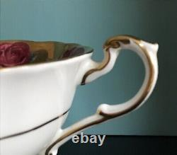Paragon Double W Cabbage Rose Garland Tea Cup Seulement Lourd Or Rose Pétoncled