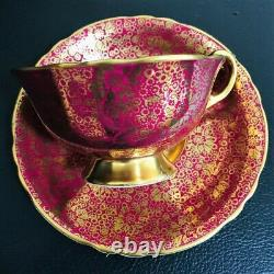 Paragon Gold Gilding Rose Teacup & Saucer Floating Red Cabbage Rose Heavy Gold