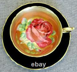 Paragon Rare! Teacup & Saucer D'or Lourd Antique Avec Huge Floating Chabage Rose