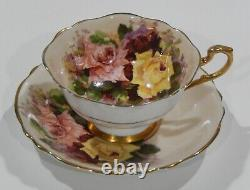 Paragon Red Pink Yellow Rose Trio Cup & Soucoupe Set C1938-52 Heavy Gold Gilding