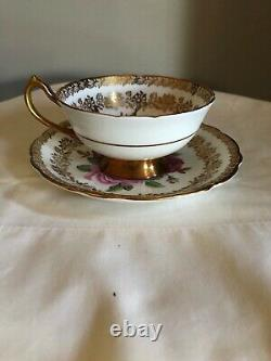 Paragon Tea Cup Soucoupe 3 Grandes Roses Chou Rouge Rose Jaune Lourd Or