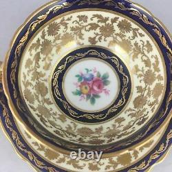 Paragon Teacup Cup & Saucer Blue Gold Heavy Gilt Cobalt Magnifique! Floral Rose