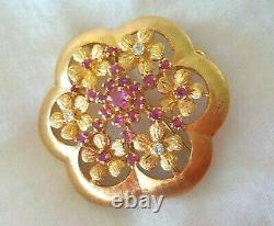 Pendentif 14k Rose Gold Ruby Diamond Pin 11,6 Gms, 1,50 Pouce, 0,64 Ctw