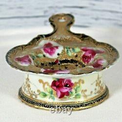 Pince À Thé Peinte À La Main Nippon Et Roses De Base Trim Or Lourd Antique Chine