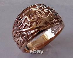 R300 Genuine Heavy 9k 9ct Solid Rose Gold Gravé 14mm Wide Band Ring