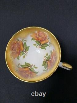 Rare Aynsley Orange Cabbage Roses Teacup And Saucer Heavy Gold (as Is)