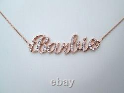 Rare Heavy 18ct Rose Or. 56ct Barbie Ronde Naturel Collier Pendentif Diamant