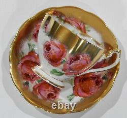 Rare Reine Anne Pink Cabbage Rose Floral Bouquet Cup & Saucer Gilding En Or Lourd
