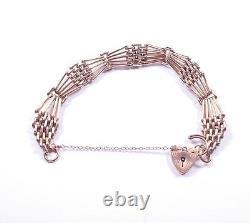 Rose Gold Gate Bracelet Heavy 9 Carat London 1997 Hm 24,9g 7 Pouces