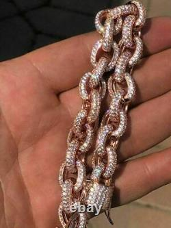 Rose Gold Over Solid 925 Sterling Silver Mens Thick Heavy Rolo Chain Diamonds