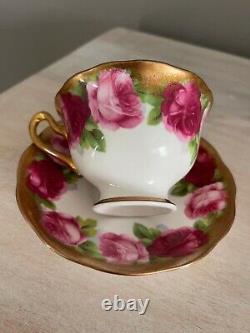 Royal Albert Anglais Rose Heavy Gold Tea Cup & Saucer