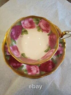 Royal Albert Old English Rose Heavy Gold Gilt Tea Cup Et Saucer