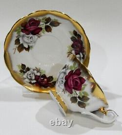 Royal Albert Red Et White Rose Cup & Saucer Treasure Chest Series Heavy Gold