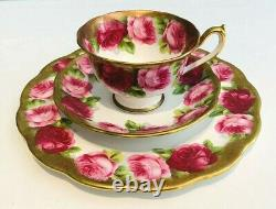 Royal Albert Trio Tea Cup Saucer Salad Plate Heavy Gold Old Anglais Rose