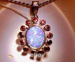 Ruby Flower Natural Australian Black Opal Doublet Lourd Dames Pendentif Rose Gold