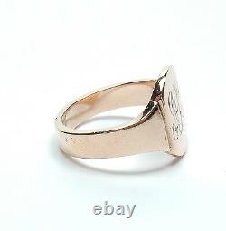 Signet Ring Rose Gold Antique 9 Carats Lourd 7.3g Art Déco