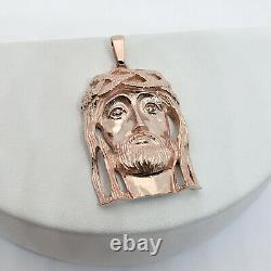 Solide 10k Rose Gold Jesus Piece Gold Jesus Pendant Heavy Large Diamond 12.4g 2