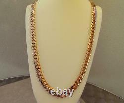 Solide 14k Rose Gold Men's Cuban Curb Link Chain Necklace 24 Heavy 221.7gr 11mm