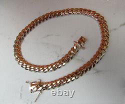 Solide 14k Rose Gold Men's Cuban Curb Link Chain Necklace 24 Heavy 267.2gr 12mm