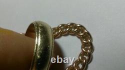 Solide 9k Or Rose Lourd 4.7mm Chaîne Collier Bordure 25.33 Grammes 16 Réglable
