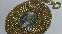 Solide Lourd 14k Or Rose 3mm Chaîne De Bordure Cubaine 16,42 Grammes 18,25 De Long