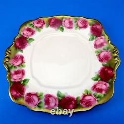 Square Heavy Gold Royal Albert Old English Rose Cake Plate 9 1/2