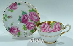 Stupéfiant Tuscan Bone Chine Peint À La Main Pink Cabbage Rose Cup & Saucer Heavy Gold