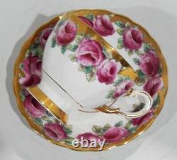 Stupéfiant Tuscan Bone Chine Pink Rose Peint À La Main Cup & Saucer Mint D'or Lourd