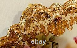 Superbe Plaque Florale Nippon Peinte À La Main Roses Lourdes Dorées 10,5
