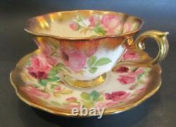 Superbe Vintage Royal Albert Avec Roses Roses Et Coupe Et Saucer En Or Lourd