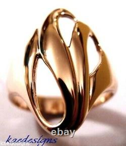 Taille L Kaedesigns, Heavy 9ct 9kt Solid Rose Gold Fancy Swirl Dome Ring 364